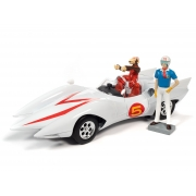 Miniatura Carro Mach 5 Speed Racer com Bonecos 1/18 Auto World