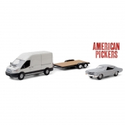 Miniatura Ford Transit & Chevrolet Chevelle Malibu 1970 Hitch & Tow 1/64 Greenlight