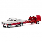 Miniatura Ford Transit F-100 1972 & Trailer com Indian Scout Moto 1920 Hitch & Tow  1/64 Greenlight