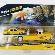 Miniatura Guincho Chevrolet Flatbed 1957 e Caprice 1987 Elite Transport 1/64 Maisto