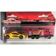 Miniatura Lamborghini Huracan e Caminhão Mercedes Zetros 1/64 Majorette