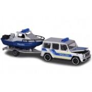 Miniatura Mercedes Benz AMG G63 com Barco Polícia 1/64 Majorette