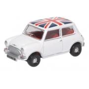 Miniatura Mini Cooper Austin White Union Jack 1/76 Oxford