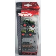 Miniatura Pack com 2 Tratores Verde e 2 Trailer 1/64 Majorette