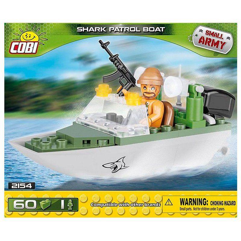 """Bot de Patrulha """"Shark"""" blocos para montar com 60 peças COBI"""