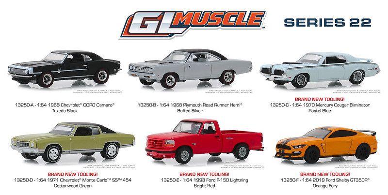 Coleção GL Muscle Series 22 com 6 miniaturas 1/64 Greenlight