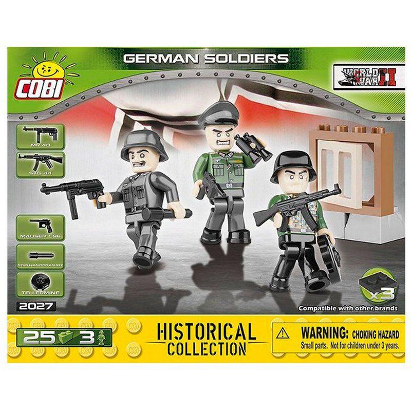 Conjunto com três Bonecos Soldados Alemães blocos de montar com 25 peças Cobi