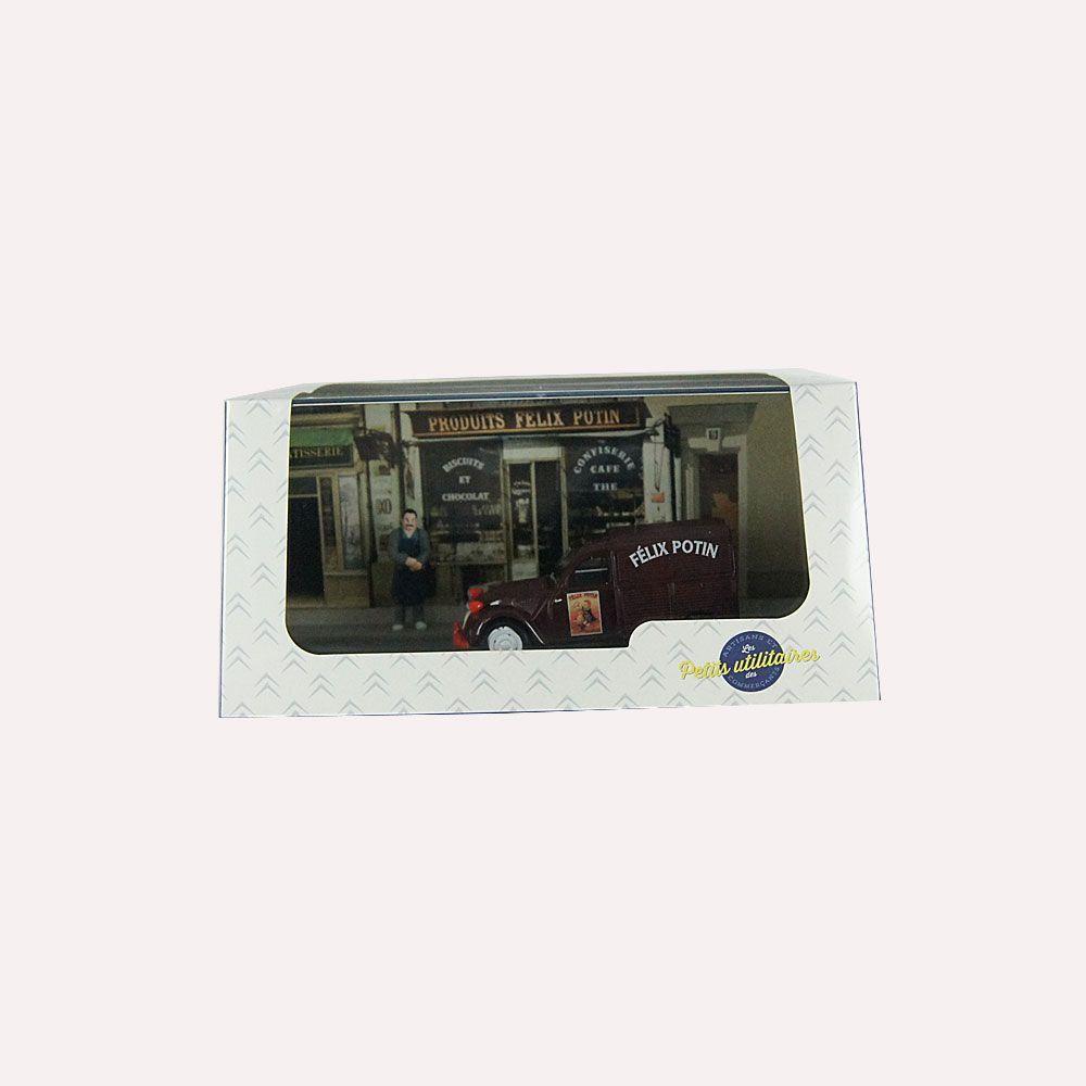 Miniatura Diorama Furgão Citroen 2CV Merceeiro Félix Potin 1/43 Atlas