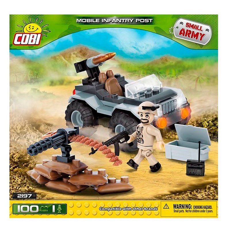 Jeep Militar com boneco de blocos para montar com 100 Peças Cobi