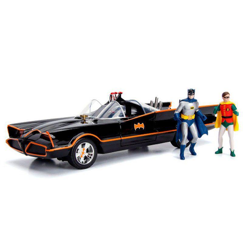 Miniatura Batmovel 1966 com Bonecos Batman 1/18 Jada Toys