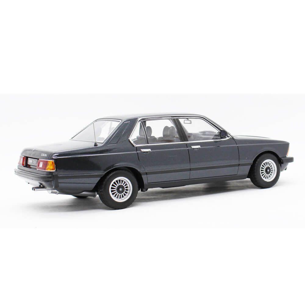 Miniatura BMW 7 Series 733i E23 4 Portas Preto 1977 1/18 KK Scale