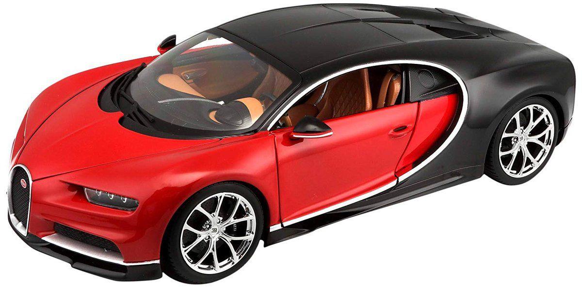 Miniatura Bugatti Chiron Vermelha 1/18 Burago