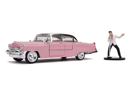 Miniatura Cadillac Eldorado 1955 Pink Com Boneco Elvis Presley 1/24 Jada Toys
