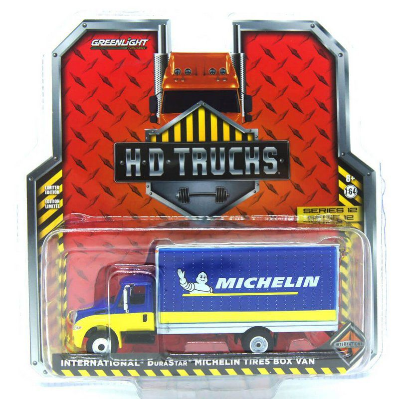 Miniatura Caminhão Baú Internacional DuraStar Michelin Tires HD Trucks 1/64 Greenlight
