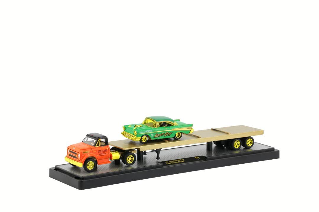 Miniatura Caminhão Chevrolet C60 1971 & Chevrolet Bel Air 1957 CHASE 1/64 M2