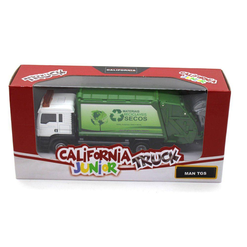 Miniatura Caminhão de Lixo Man TGS 1/64 California Junior Truck