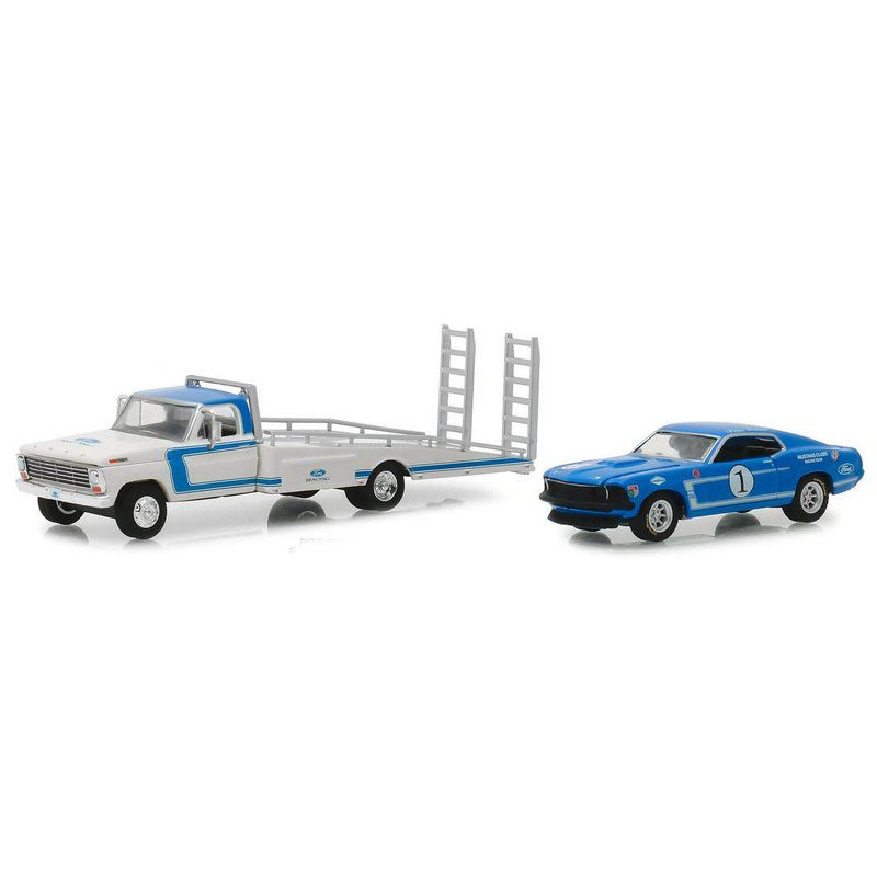 Miniatura Caminhão Ford F-350 1969 e Ford Mustang Boss 1969 HD Trucks Serie 15 1/64 Greenlight