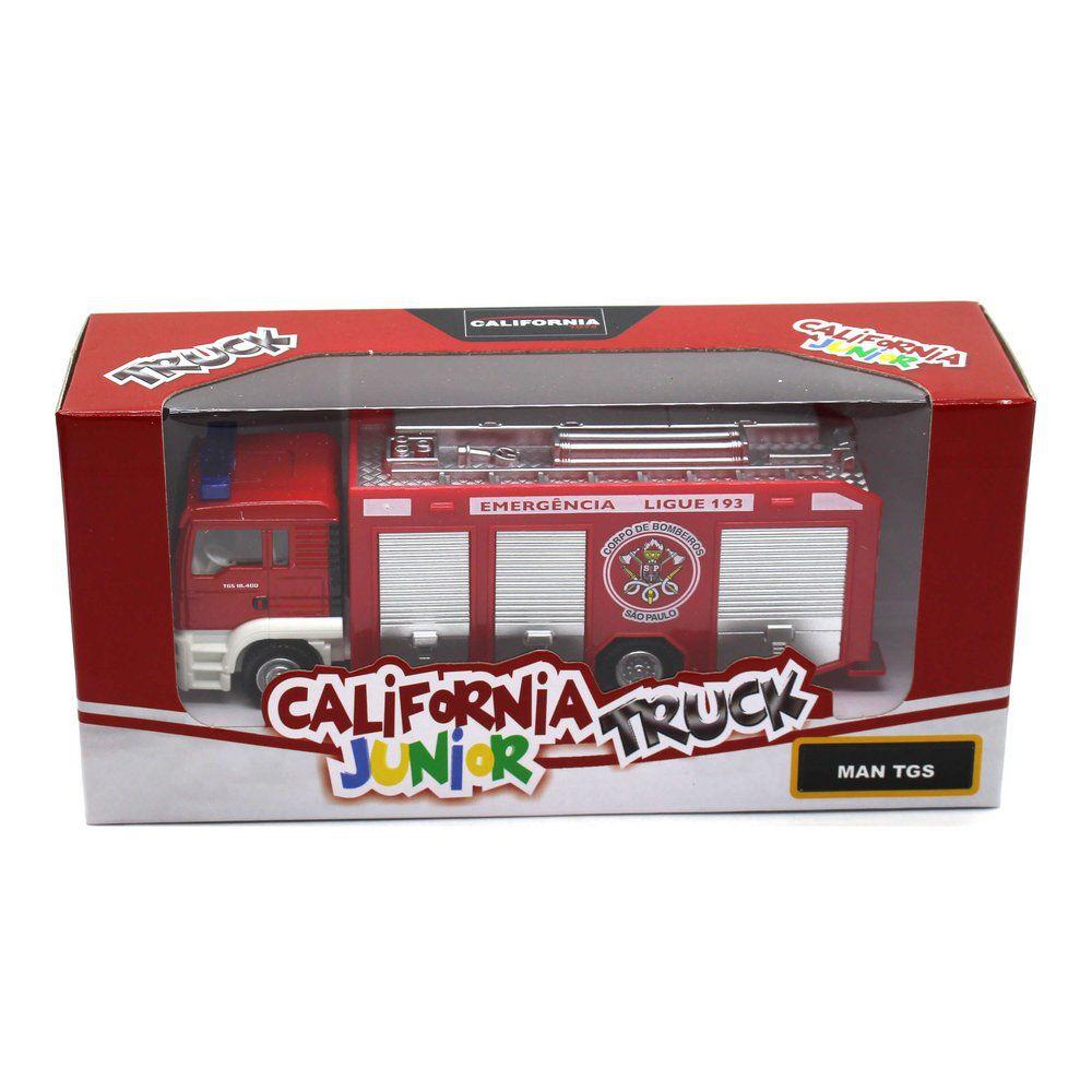 Miniatura Caminhão Man TGS Bombeiros 1/64 California Junior Truck