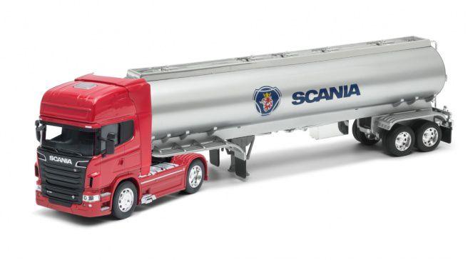 Miniatura Caminhão Scania V8 R730 4x2 Tanque de Óleo 1/32 Welly