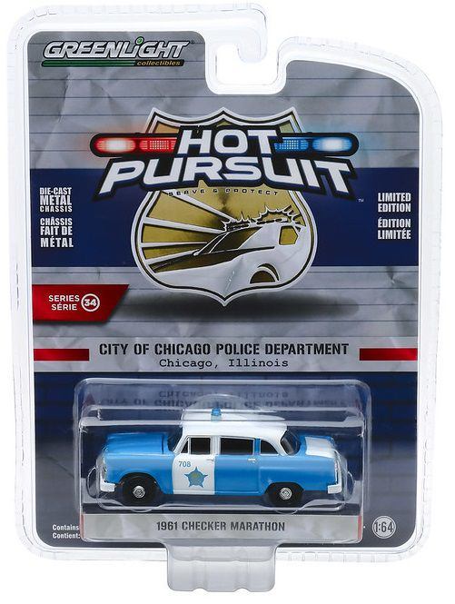 Miniatura Cheker Marathon 1961 Polícia Hot Pursuit 1/64 Greenlight