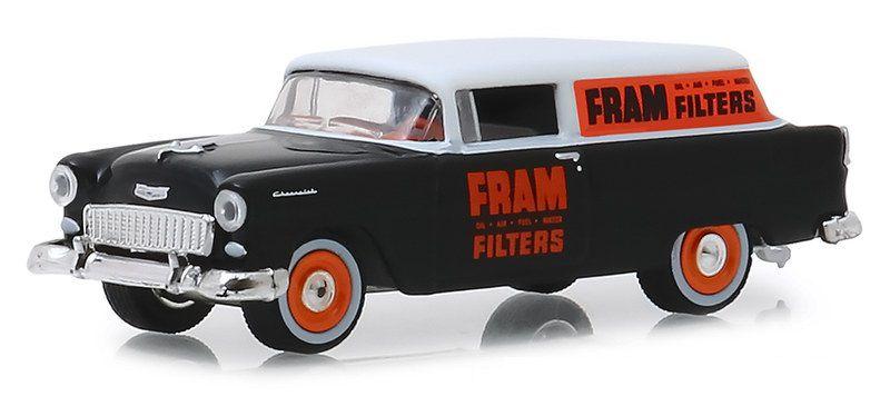 Miniatura Chevrolet 1955 FRAM Oil Filters Running on Empty 1/64 Greenlight