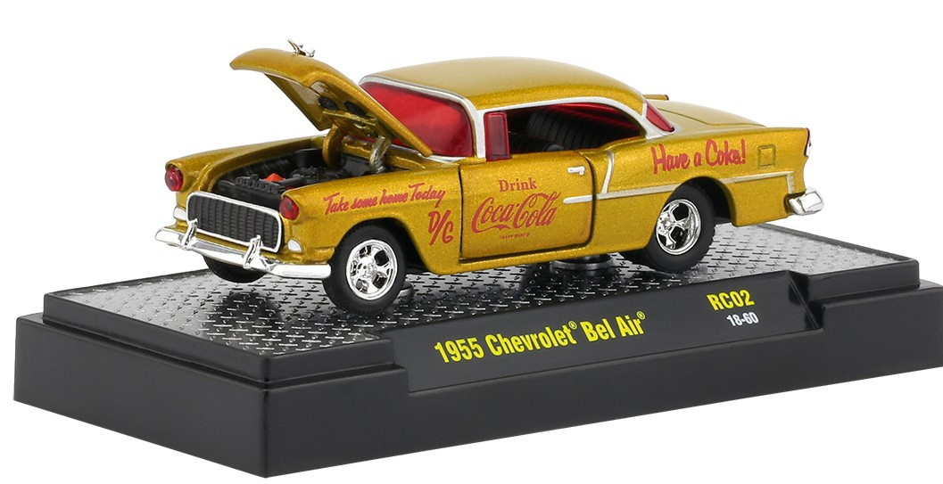 Miniatura Chevrolet Bel Air 1955 Coca Cola Race Car 1/64 M2
