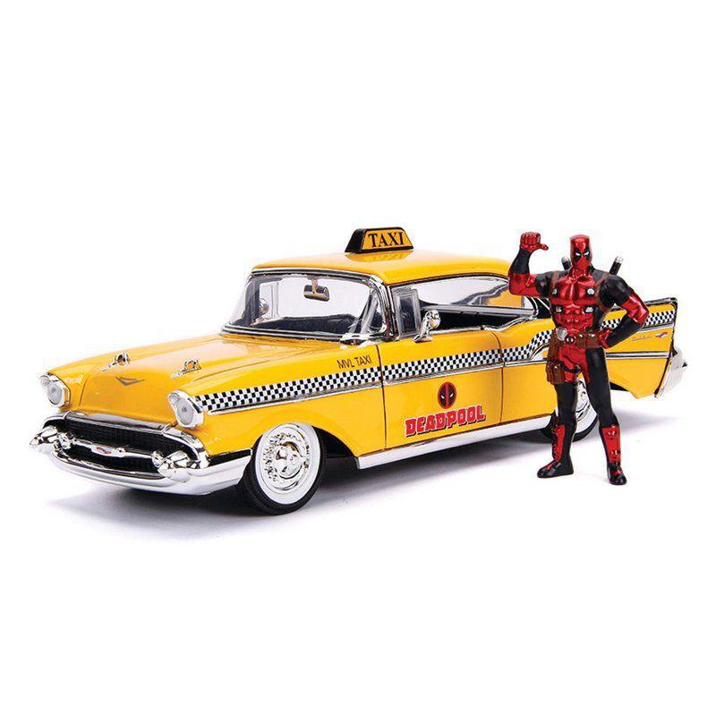 Miniatura Chevrolet Bel Air 1957 Deadpool Taxi com Boneco 1/24 Jada Toys