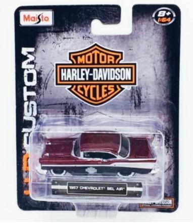 Miniatura Chevrolet Bel Air 1957 Harley Davidson Custom 1/64 Maisto