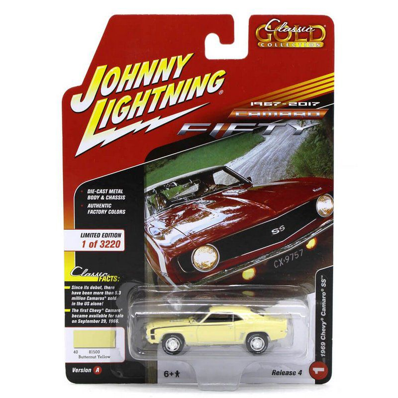 Miniatura Chevrolet Camaro SS 1969 Classic Gold 2017 4 A 1/64 Johnny Lightning