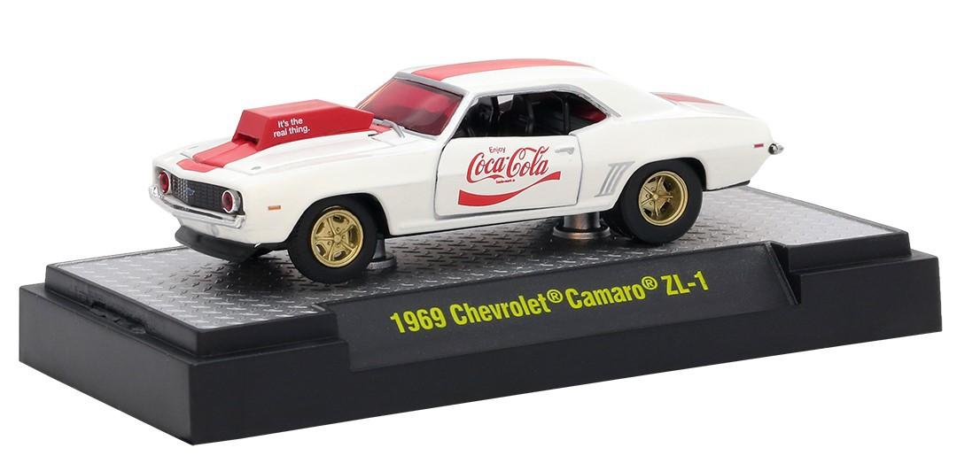 Miniatura Chevrolet Camaro ZL1 1969 Coca Cola Race Car 1/64 M2