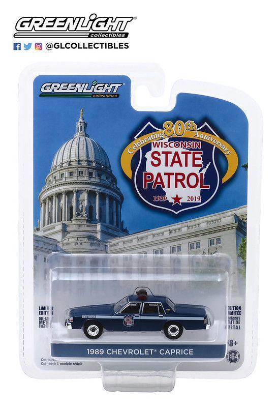 Miniatura Chevrolet Caprice Wisconsin State Patrol 1989 1/64 Greenlight