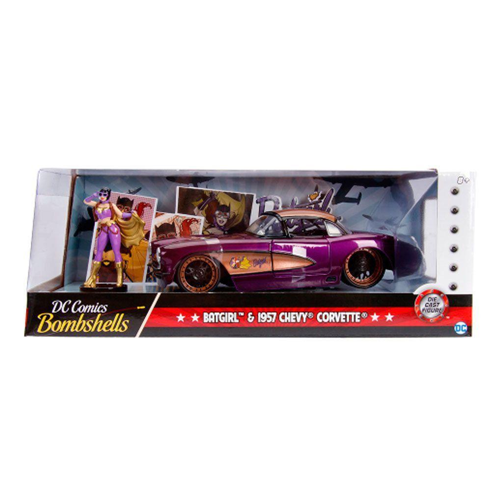 Miniatura Chevrolet Corvette 1957 Batgirl com Boneco 1/24 Jada Toys