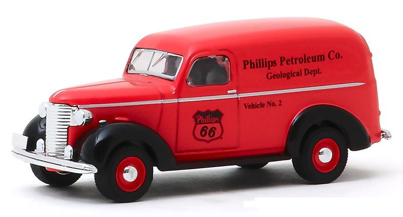 Miniatura Chevrolet Panel 1939 Philips 66 Running on Empty 1/64 Greenlight