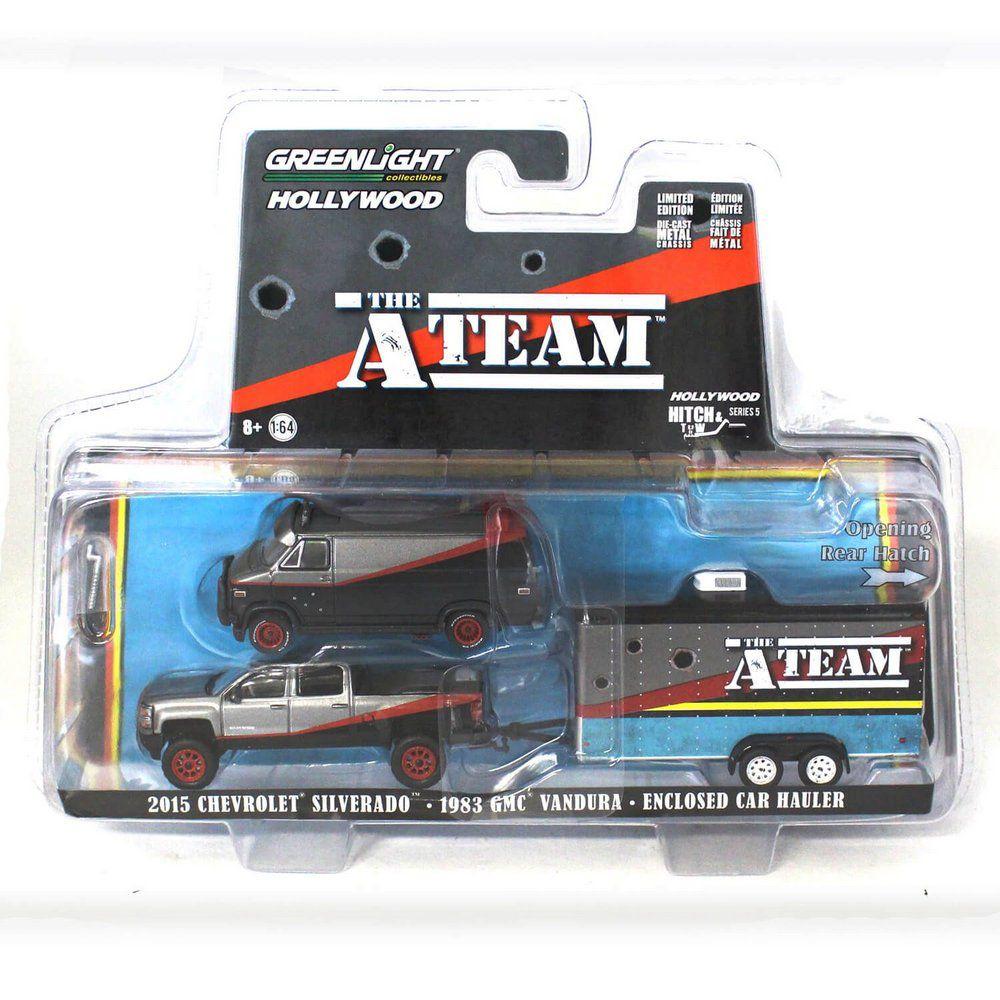 Miniatura Chevrolet Silverado 2015 e GMC Vandura 1983 A-Team Esquadrão Classe A Trailer 1/64 Greenlight Hitch & Tow Serie 5