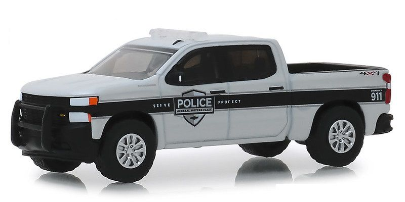 Miniatura Chevrolet Silverado 2019 Polícia Hot Pursuit 1/64 Greenlight