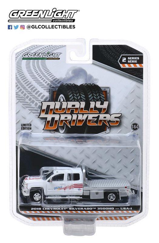 Miniatura Chevrolet Silverado 3500 2018 Flatbed Dually Drivers 1/64 Greenlight