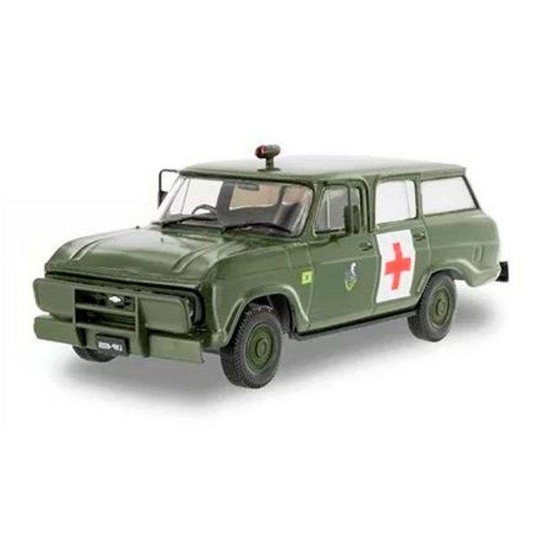 Miniatura Chevrolet Veraneio 1977 Ambulância Exército BrasileiroJ 1/43 Salvat