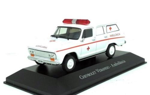Miniatura Chevrolet Veraneio Ambulância Branca 1/43 Chevrolet Collection Salvat