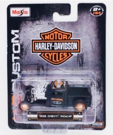 Miniatura Chevy Pick Up 1936 Harley Davidson Custom 1/64 Maisto