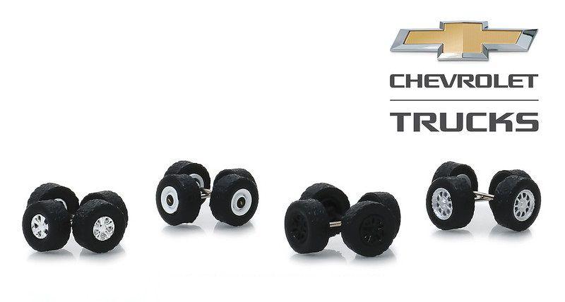 Miniatura Conjunto Rodas e Pneus Chevrolet Trucks 1/64 Greenlight
