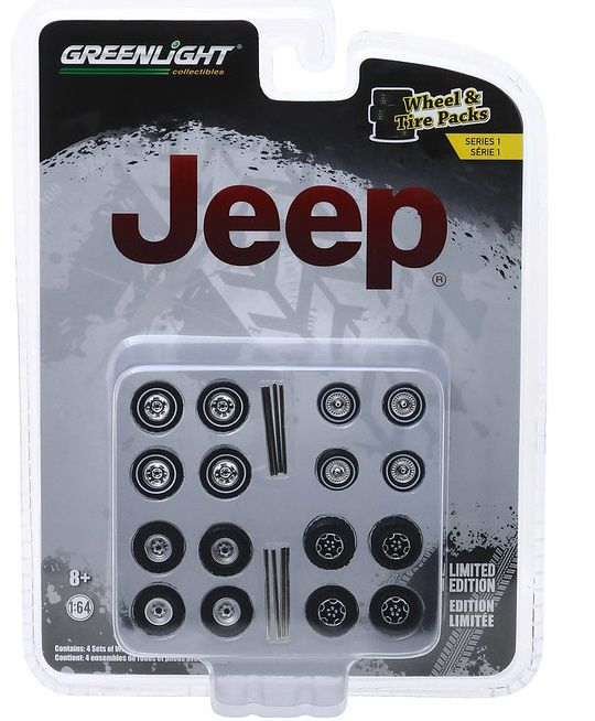 Miniatura Conjunto Rodas e Pneus Jeep 1/64 Greenlight