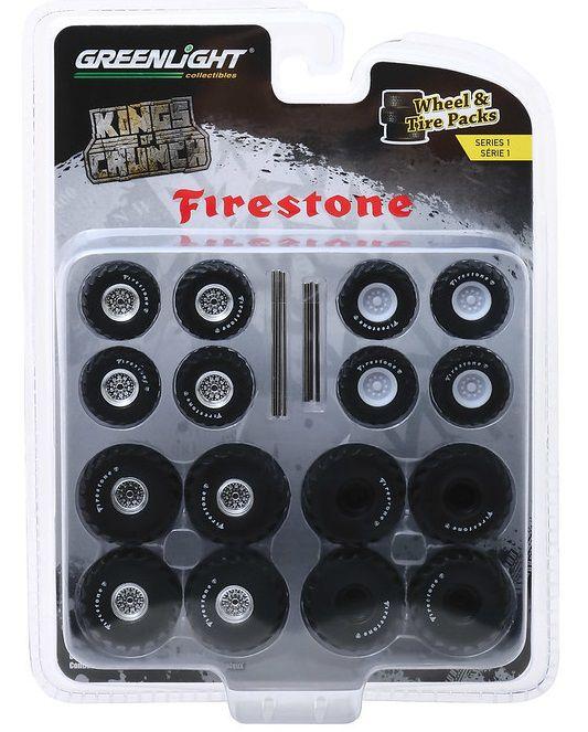 Miniatura Conjunto Rodas e Pneus King of Crunch Firestone 1/64 Greenlight