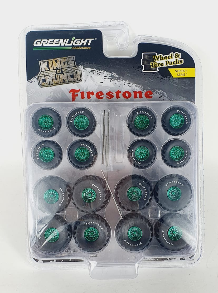 Miniatura Conjunto Rodas e Pneus King of Crunch Firestone 1/64 Greenlight Green Machine
