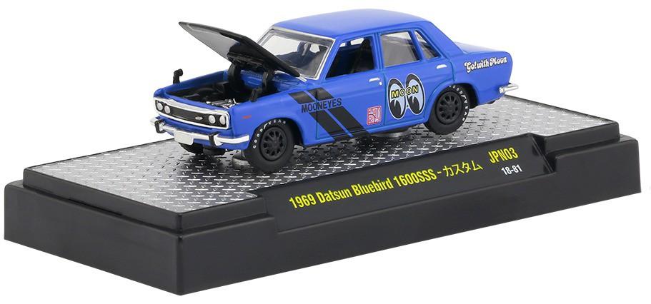Miniatura Datsun Bluebird 1600SSS 1969 Azul Mooneyes 1/64 M2