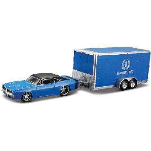 Miniatura Dodge Charger R/T 1969 Car Trailer 1/64 Maisto Design Tow & Go