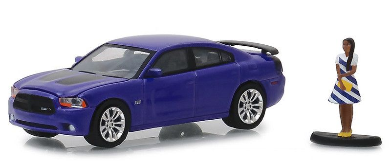 Miniatura Dodge Charger Super Bee 2013 com boneco Hobby Shop 1/64 Greenlight