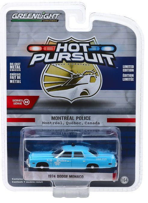 Miniatura Dodge Monaco 1974 Polícia Hot Pursuit 1/64 Greenlight