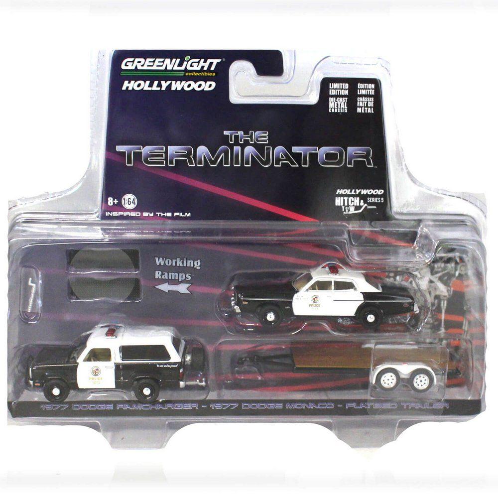 Miniatura Dodge Ramcharger 1977 e Dodge Monaco 1977 The Terminator O Exterminador do Futuro Trailer 1/64 Greenlight Hitch & Tow Serie 5