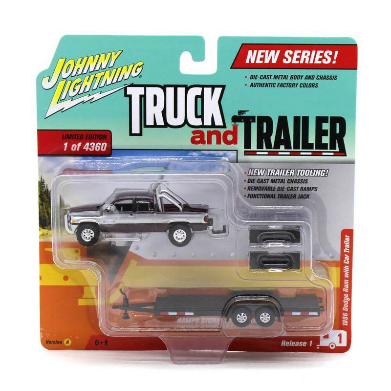 Miniatura Dpdge Ram 1996 Truck And Trailer 1 A 1/64 Johnny Lightning