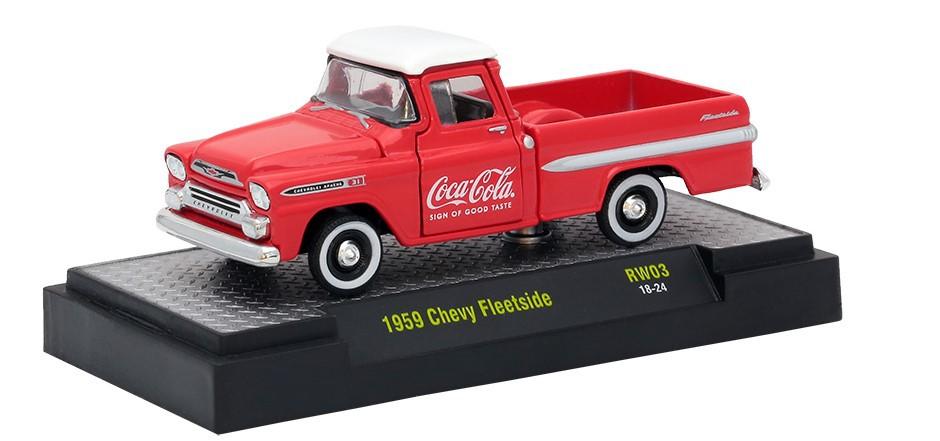 Miniatura Chevrolet Fleetside 1959 Coca Cola Vermelho 1/64 M2